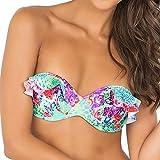 Luli Fama Women's Pequeno Paraiso Ruffle Underwire Push Up Bikini Top