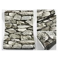 0.53 * 10m(1.72 * 32.7ft)接着剤固定グレー壁紙レンガ壁紙寝室の壁紙3Dノスタルジックな風のバーの壁紙 (Packs : 3 packs)