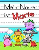 """Mein Name ist Marie: Spass Dino Monster personalisierte primaere Namensverfolgung Arbeitsbuch fuer Kinder lernen, wie man ihren Vornamen Uebungspapier mit 1"""" Linien fuer Kinder in Vorschule und Kindergarten schreiben"""