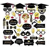 CC HOME 卒業パーティーデコレーション 卒業写真ブース小道具 パーティー記念品 眼鏡&卒業キャップ 卒業パーティー ドレスアップアクセサリー 44個パック