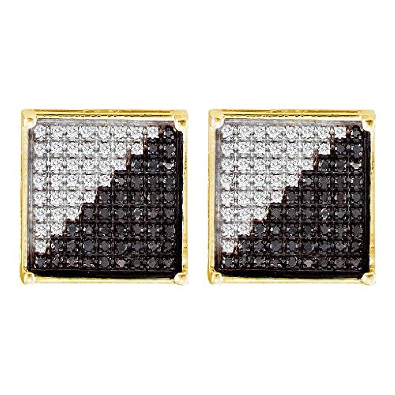 最愛のチェスをする辞任10 KTイエローゴールドメンズラウンドブラックカラーEnhancedダイヤモンド正方形クラスタイヤリング1 / 3 cttw