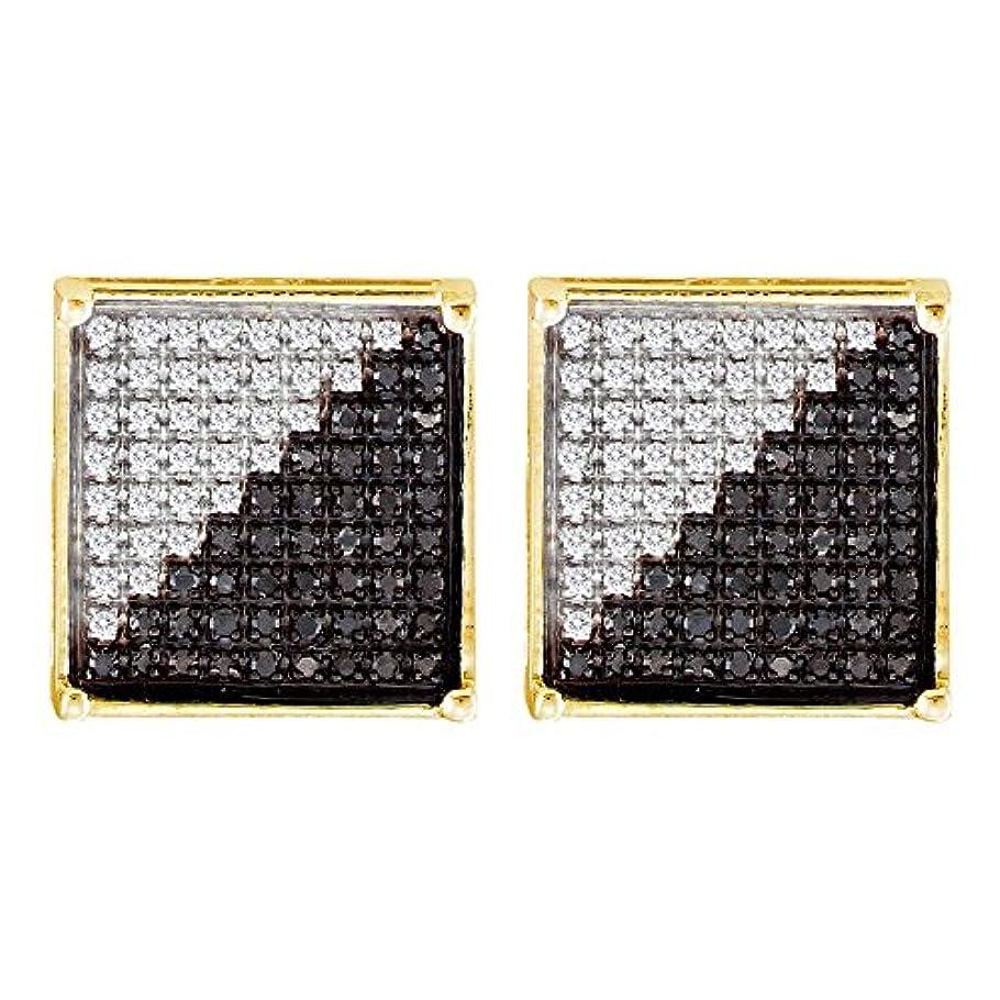 ライトニング追い越す厚くするRoy Rose Jewelry 10K イエローゴールド メンズ ラウンド ブラックカラー 強化ダイヤモンド スクエア クラスターピアス 1/3カラット tw