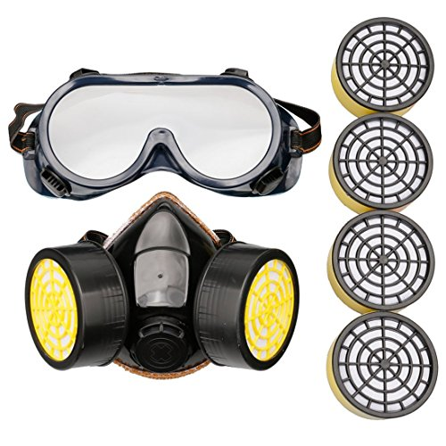 A-szcxtop 防毒マスクセット(防塵ゴーグル + 防毒マスク) 交換用活性炭フィルター4個  防塵マスク 活性炭 有機ガス 粉塵 塗装作業用 軽量