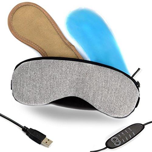 ホットアイマスク,Daiwin USBアイマスク タイマー設定 蒸気 電熱式 四段階温度調整 繰り返し使える 目の疲れ軽減 安眠 血行促進 洗える スプレーボトルとアイスパック付き(無味 安全)