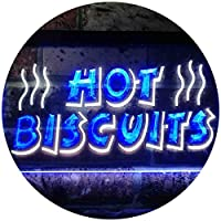 Hot Biscuits Dual Color LED看板 ネオンプレート サイン 標識 白色 + 青色 400 x 300mm st6s43-i0117-wb