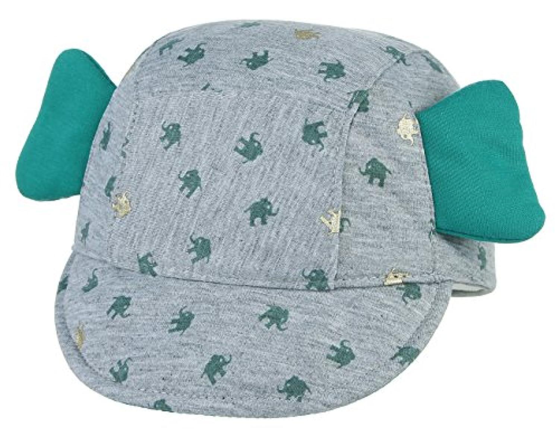 (ビウインキー) Biwinky ベースボールキャップ ベビー 帽子 日よけ uv 夏 キャップ 子供 女の子 男の子 かわいい 通園 通学 象柄 ダークグリーン