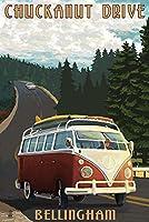 Chuckanut Drive - Bellingham, WA - VW Van (24x36 Giclee Gallery Print, Wall Decor Travel Poster) by Lantern Press