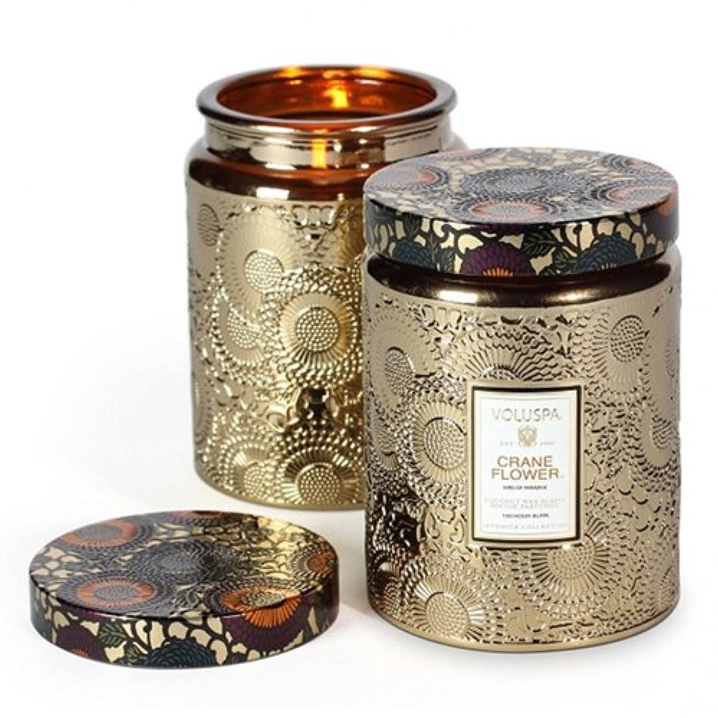 遺伝子該当する虹Voluspa ボルスパ ジャポニカ グラスジャーキャンドル L クレーンフラワー JAPONICA Glass jar candle CRANE FLOWER