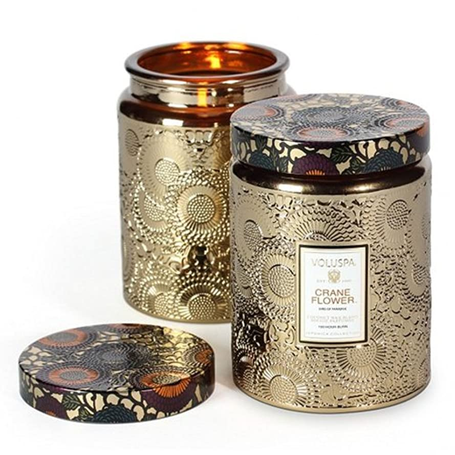 保護消える化粧Voluspa ボルスパ ジャポニカ グラスジャーキャンドル L クレーンフラワー JAPONICA Glass jar candle CRANE FLOWER