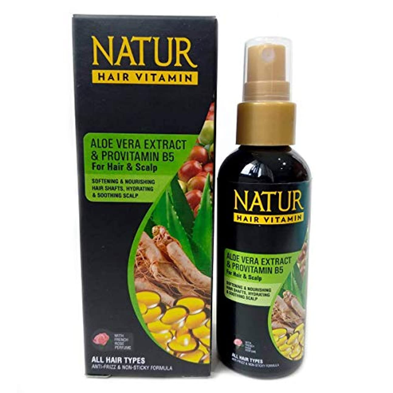 NATUR ナトゥール 天然植物エキス配合 Hair Vitamin ハーバルヘアビタミン 80ml Aloe vera&Provitamin B5 アロエベラ&プロビタミンB5 [海外直商品]