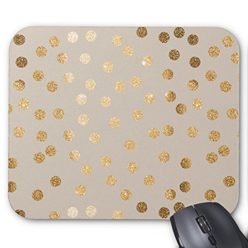 Recaso(レカソ)静かにベージュ色および金ゴールドのグリッター都市点 マウスパッド 敷き おしゃれ オフィス用 滑り...