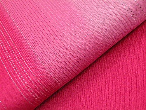 ゆかた用 ぼかし無地 ラメ入り グラデーション 単衣 浴衣帯 リバーシブル 半幅帯 (ピンク)