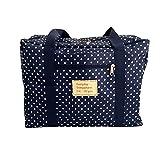 【LudusFelix】スーツケースの持ち手に通せるポケッタブルボストンバッグ 折りたたみバッグ フォールディングバッグ トラベルバッグ 超軽量バッグ 全5色 ストライプ 水玉