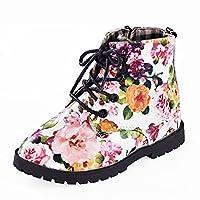 [MIGO KIDS] 女の子 ファッション 花 子供たち 靴 赤ちゃん マーティン ブーツ カ ュアル 子供 ブーツ (幼児/リトルキッド)
