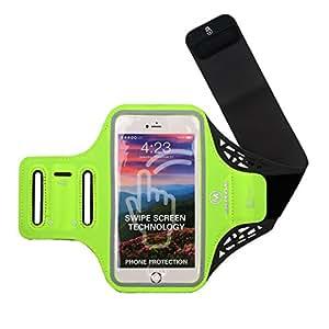 MUSON(ムソン) スポーツ アームバンド スマホケース 軽量薄型 ランニングアームバンド 防滴/防水/調節可能 指紋認証対応 収納ポケット付 Xperia/iPhone6/6s/6 Plus/6s Plus/7/7 Plusなど最大5.5インチのスマホに対応 グリーン