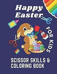 Happy Easter scissor skills coloring book for kids