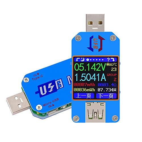 JPLJJ UM25 / UM25C USB テスター 電圧 電流計 電圧計 バッテリー 充電 ケーブルインピーダンス 抵抗 (Color : E ブルー, Size : UM25)