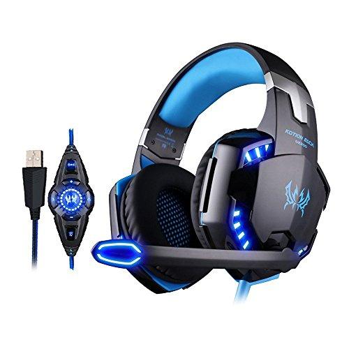 KOTION EACH ゲーミングヘッドホンG2200ステレオPC/Laptopゲーム用ヘッドセット 7.1chバーチャルサラウンド USB接続 重低音 振動機能 密閉型 騒音抑制機能 LEDライト 専用ソフトウェア CD付属の有線ヘッドバンド ソフトレザー式 ノートパソコン デスクトップPC Windows XP/7/8/8.1/10 など対応Gaming Headset (ブラック&ブルー)