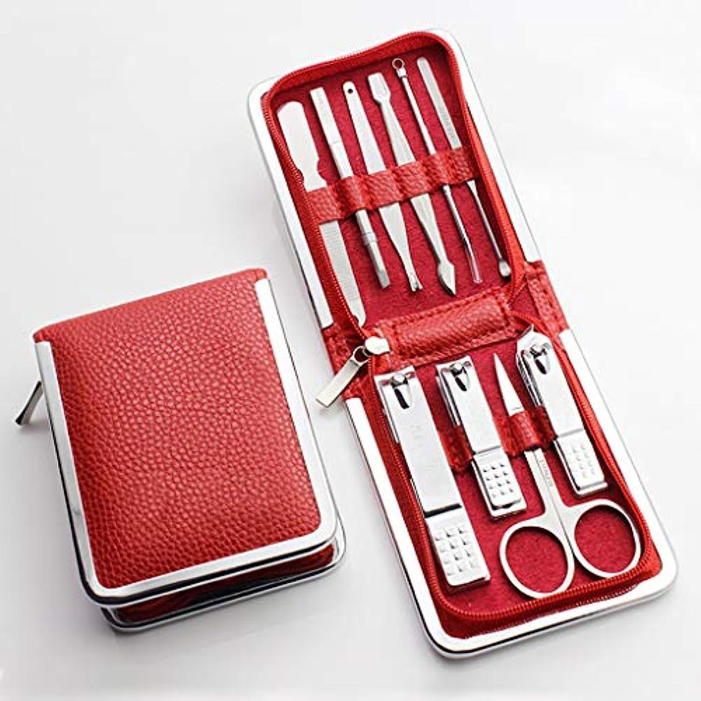 印象的なたらい公平マニキュアセット(10点セット)、プロのパーソナルケア、高級スーツケース付きマニキュアツール、家庭用、旅行、デイリーケアに最適,Red
