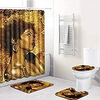 ZXF 女の子のアバター柄シャワーカーテンフロアマット浴室トイレマット4ピースカーペット吸水率が衰退しない汎用性の高い快適なバスルームマットは洗濯機で洗えます 安全で便利です