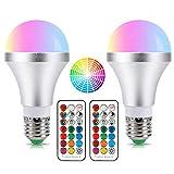 【改良版】LED電球 E26/E27口金 60W相当 調光調色可能 普段照明用 昼白色 装飾照明多彩電球 RGBW リモコン操作 省エネ 長寿命 【2個入り】