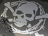 スカルステッカーC2 有刺鉄線枠 鏡面シート 特大(15.4cm×17cm) シルバーミラー