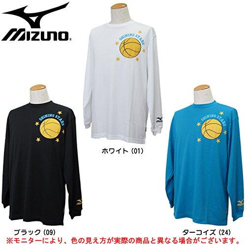 MIZUNO(ミズノ) Tシャツ(長袖) 54SP360 バスケットボール ミッキー マウス ディズニー キャラクターTシャツ (ターコイズ(24), S)
