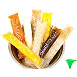 AZONBEY 140Pack Disposable Ice Popsicle Mold Bags,Homemade Ice Pop Bags with A Funnel and Zip Seals For Ice Candy Pops ,Juice