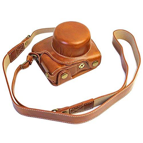 Mercs 高級合皮レザー ミラーレス一眼 カメラケース Nikon Nikon1 J5 専用 10-30mm レンズ 対応 セパレート式 電池交換できるデザイン ショルダーベルト付き (ブラウン)
