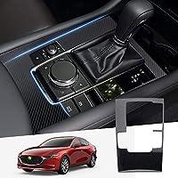 Cartist マツダ 新型 Mazda3 セダン専用 BP系 AT専用 シフトパネルカバー コンソールスイッチパネルカバー H31.5-現行 専用設計 内装 カスタム ドレスアップ マツダ3パーツ 傷防止 ステンレス製 簡単取付 1pcsセット (新型 マツダ3, カーボン柄)