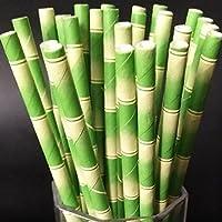 (ノタラス) Notalas ストロー ス ペーパー製 紙製 環境に優しい 可愛い柄 竹 喫茶店 水筒 特別 おしゃれ 優雅 25本 (平口)