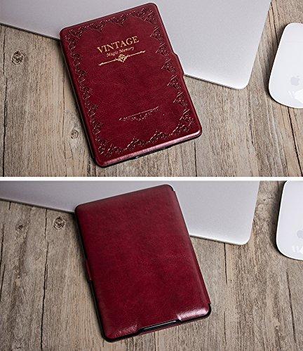 AIKOSHA NETWORK レッド Kindle Paperwhiteキンドルペーパー ホワイト専用ケース ビジネスクラシックなデザイン 最も薄く、最軽量の保護 レザーケース