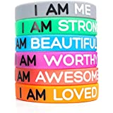 Silicone Wristbands | 6-Piece Set Rubber Band Bracelets, 6 Different Colors & Messages to Brighten Your Day | Adult Unisex Size 20 cm x 1 cm | Non-Toxic, Hypoallergenic
