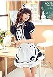 【ELEEJE】ハロウィン 大人用 メイド服 & レースニーハイ 豪華5点セット (XL, 黒)