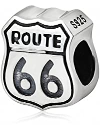 Xuthus Charms Route 66 Sign 925 Sterling Silver European Style Bead Fits Big Hole Bracelet Bracelets