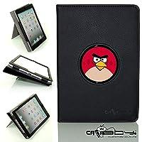 Calaboy iPad mini 4スリープスマートブラックレザーケースCalaboy交換可能デザイン–カスタマイズ画像フレームW Angry Birdsロゴ( c17)