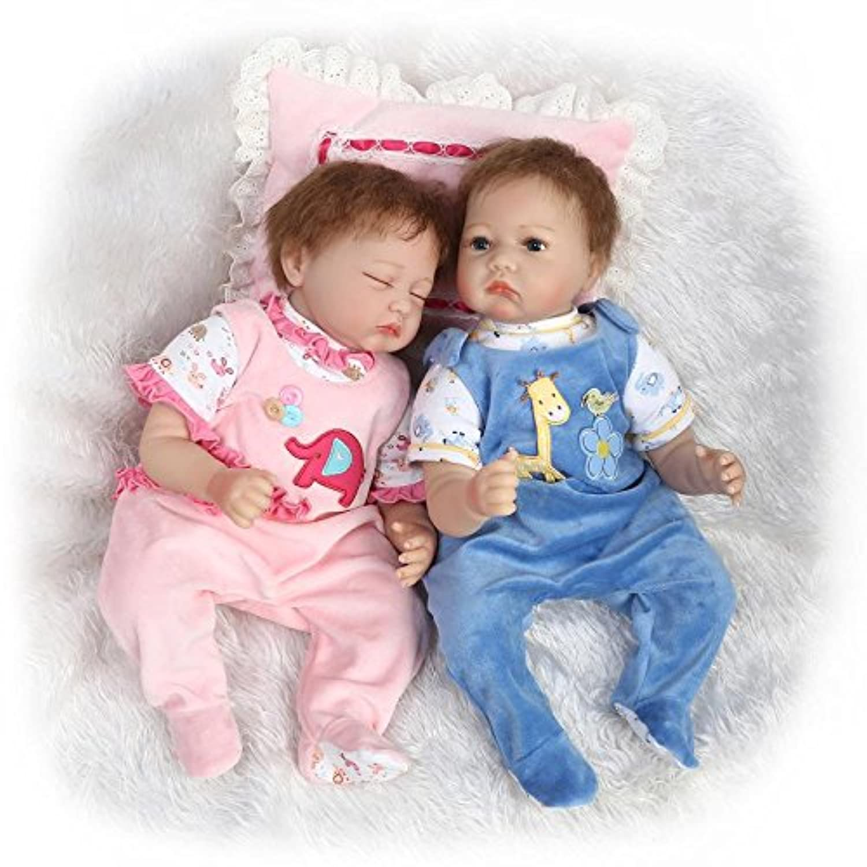 NPK 22インチReal lifelke Rebornベビー人形Twinsリアルな新生児Dolls Sleeping Girl and Boy 2pcs Toys Free Magnet Pacifier