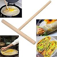 1PC T形の木製のパンケーキのバッターのスプレッダースティックローリングピンのキッチンツール