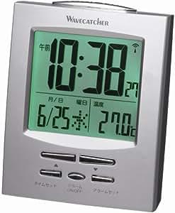 GENTOS 置き時計 シルバー 高7×幅8.9×3.6cm