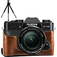 No1accessory XJPT-XT10-D10 ダークブラウン Fuji Fujifilm X-T10 XT10 X-T20 XT20 専用 PU 半分レザー レフ カメラバッグ カメラケース + とともにミニ三脚