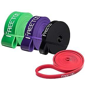FREETOO フィットネスチューブ スーパーハード トレーニングチューブ レギュラータイプ 機器 男性 筋力トレーニング リフティング筋肉 レッド 65ポンドから175ポンドまで