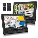 PUMPKIN ヘッドレストモニター 2台 dvd内蔵 ポータブル DVDプレーヤー 車載 バッテリー内蔵 10インチ CPRM 1024×600リージョンフリー リモコン二個 レジューム AV-OUT AV-IN 18ヶ月