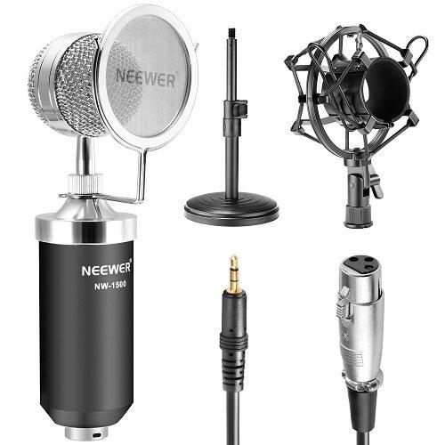 Neewer® NW-1500コンデンサーマイク+NW-02マイクスタンド+ショックマウント+マイク...