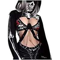 JUMISEE Women Gothic Skeleton Print Hoodies Mask Bandage Crop Top Lace Up Pullover Sweatshirt for Rave Festivals Streetwear