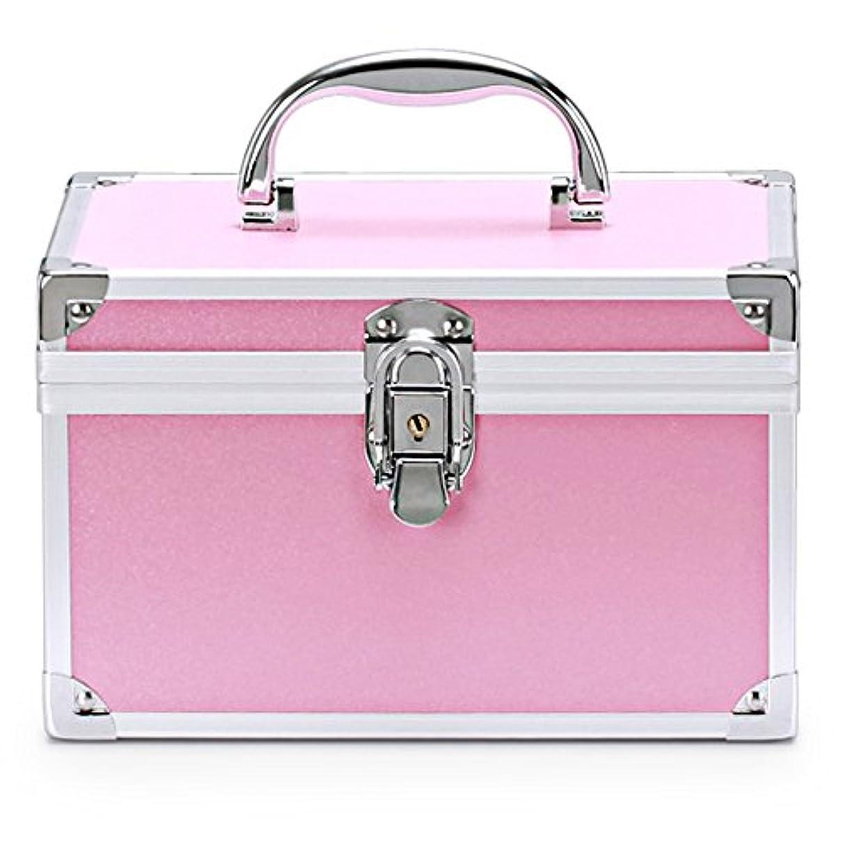 静脈演劇純度メイクボックス 人気 コスメボックス 鏡付き 大容量 かわいい アルミ化粧ボックス プロ 持ち運び (L, ピンク)