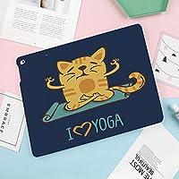 iPad Air 2019 ケース iPad Air3 10.5インチ ソフトカバー TPU 耐衝撃 傷防止 オートスリープ機能 軽量 薄型 二つ折りスタンド スマートカバー 2019年発売の10.5インチ iPad 対応ヨガのテーマかわいい漫画猫エクササイズマットロータスポジションが大好き