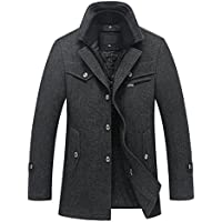 Hot Sale Men's Gentle Layered Collar Single Breasted Quilted Lined Wool Blend Pea Coats