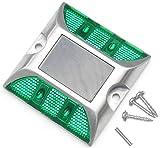4 LED 道路 鋲 路肩 標 誘導 灯 ソーラー 充電 式 セット ( 緑 点滅 1個 + 固定用 ビス 3本 )