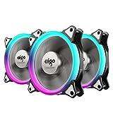 pcケースファン AIGO 120mm 静音 RGBカラーLEDリングを装備 冷却 水冷ラジエーターファン 3個セット (120mm, C3)