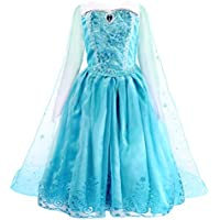 AmzBarley Girls Princess Elsa Fancy Dress Detachable Cape Birthday Party Halloween Costume Dress Up Outfit